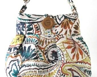 womens shoulder bag- crossbody messenger bag- paisley purse- fabric tote bag- handmade handbag- everyday bag-  cross shoulder bag- vegan bag