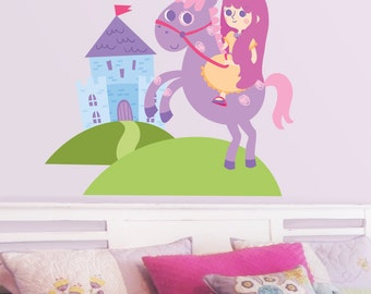 Little Princess, Castle & Unicorn - Full Color - Printed Wall Decals
