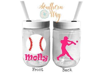Plastic Mason Jar Cups - Party Favor - Plastic Cups - Birthday Party Favor - Softball- Kids Party Favor - Baseball