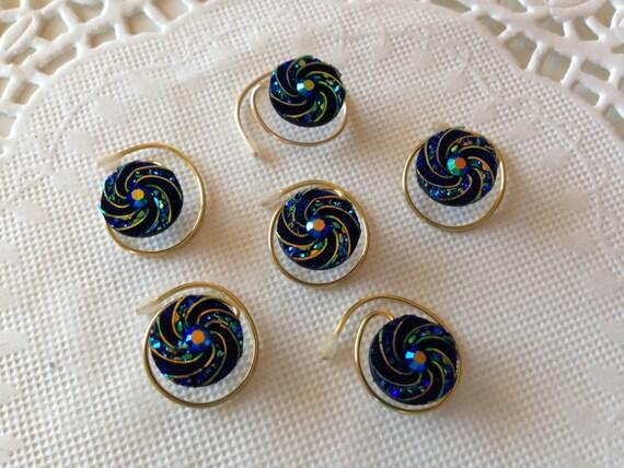 Prom Hair Swirls,Spins,Spirals, Pinwheel Twist in Black Aurora Borealis Finish Peacock Blue