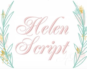 """Helen Embroidery Font 4"""" inch Formal Cursive Script Monogram Embroidery Font  Virginia BX 5x7 6x10  BX instant download"""