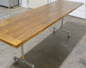 Industrial Desk Dining Wood Table Galvanized Casters Wheeled Rolling