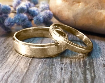 SET: 2.8MM & 5.5MM Wedding Band Set | Matte Center | Polished Rims | Solid 14K Gold | Fine Jewelry | Free Shipping