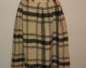 Huge Wool White Black Plaid Ball Skirt 1960's Hostess Maxi Patio