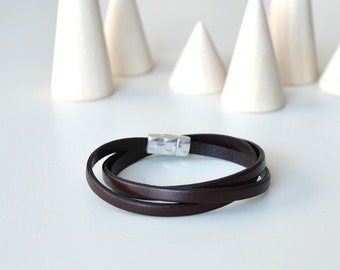 Brown Leather Wrap, Brown Leather Bracelet, Leather with Magnet Clasp, Brown Wrist Strap