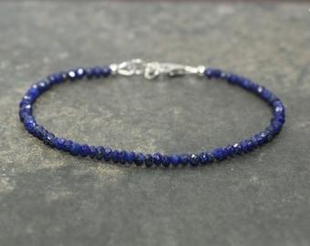 Lapis Bracelet, Lazuli Lapis Jewelry, Minimalist, Layering Bracelet, Gemstone Jewelry