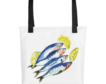 Sardinas Tote bag. Reusable Shopper Bag, Farmers Market Bag, Shopping Bag, Eco Tote Bag, Reusable Grocery Bag