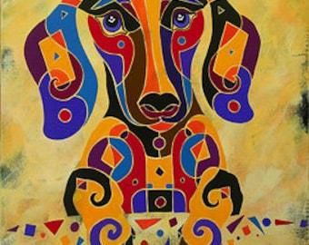 Dachshund Print, Whimsical Dachshund Art, Dog Art, Dachshund Art, Contemporary Dachshund,  Dog Gift, Dog Art, DogArt, Colorful Dachshund