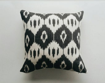 Ikat Pillow Cover - Black and White Boho Throw Pillow - Modern Bohemian Tribal