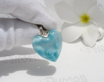 Larimar pendant by Larimarandsilver, Love is like a mint Candy - minty heart pendant silver, teal crystal heart, bohemian jewelry, love gift