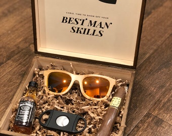 Personalized Groomsmen Gift Box with Wooden Sunglasses & Cigar Cutter | Groomsman Gift Box | Unique Gift Set for Groomsmen and Ushers