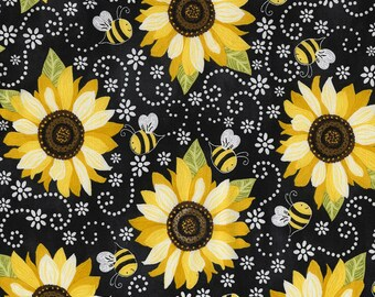 Sunflowers and Bees Fabric; You Choose Size; C5345; Timeless Treasures; Novelty Fabric; Floral Fabric; Flowers; You Are My Sunshine