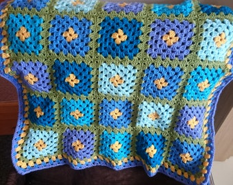 Baby blanket - granny square blanket - SALE - crochet blanket - blue blanket - lap blanket - baby gift - blue, green, yellow.