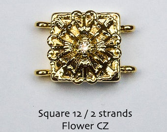 Sale! 2 Strand Magnetic Clasp With CZ 18KT Gold Plated