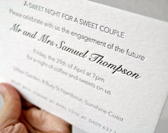 Letterpress wedding invitations; custom wedding stationery, letterpress RSVPs, save the date. menus, reception cards, matching envelopes