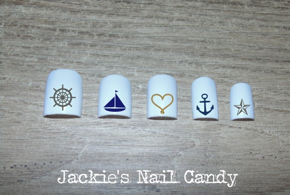 Nautical Nail Decals Steering Wheel Sail Boat Rope Heart