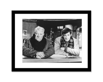 Black and white photo of Jean Paul Belmondo and Jean Gabin