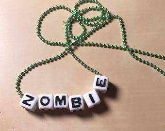 Green Zombie Beaded Necklace, Zombie Jewelry