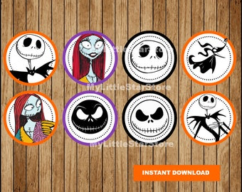 Nightmare Before Christmas Cupcakes Toppers, Nightmare Before Christmas Toppers, Nightmare Before Christmas party Toppers Instant download
