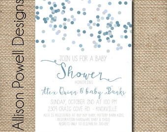 Boy Baby Shower Invitation,  Baby Sprinkle Blue Grey Baby Shower Invites