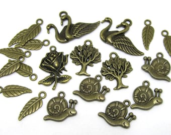 Set of 20 charms to the NATURE theme (snail, leaf, tree of life, Swan, flower) metal bronze