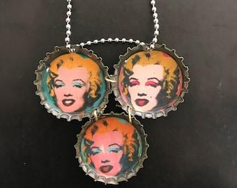 Marilyn Diptych Bottle Cap Necklace