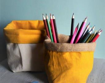 Mustard storage baskets, Burlap, unbleached cotton.  2 pieces.