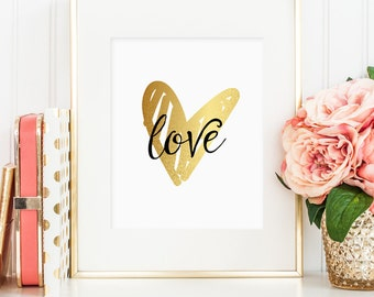 Love gold foil heart printable, hand drawn, printable wall art decor, love art, faux gold foil, instant digital download JPG)