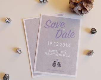 Save the Date Card, Winter Save-the-Date, Wintery, Pinecones