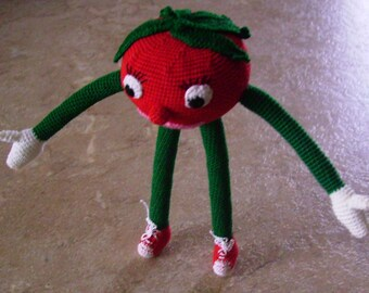 Only One Available and It's Yours With Fast shipping:) Bonnie's Crochet Cotton Thread Item Leggy Red Tomato Doll /Not A Toy