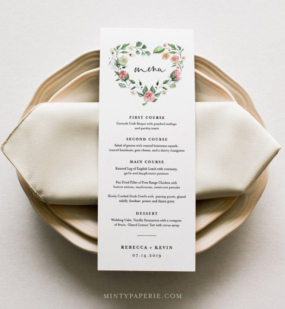 Boho Menu Template, Printable Wedding Dinner Menu Card, Floral Heart Wreath, INSTANT DOWNLOAD, 100% Editable Text, Templett, DIY #058-128WM