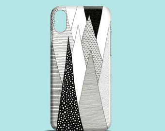 Stalactites phone case, black and white iPhone X case, iPhone 8, iPhone 7, iPhone SE, iPhone 6S, iPhone 6 iPhone 5/5S, mountain phone case