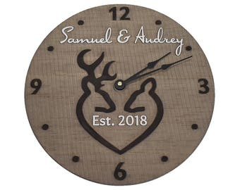1st anniversary gift Wooden clock Engagement gifts for couple Wedding gifts for couple Deer clock Established sign clock Bridal shower gift
