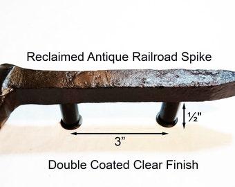 "3"" Left Sealed Railroad Spike Cupboard Handle Dresser Drawer Pull Cabinet Knob Antique Vintage Old Rustic Re-purposed House Restoration"