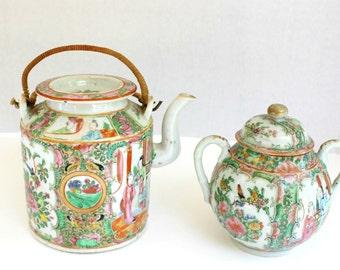 19th Century Antique Rose Medallion Tea Set