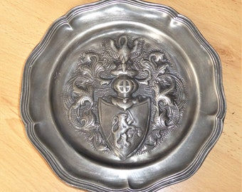 Antique French Pewter Plate Decorative Plaque.  Armorial