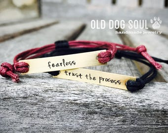 2 Custom friendship bracelet, Custom Hand Stamped Bracelet, Quote Bracelet, bulk stamped bracelets, bulk gift idea, unique
