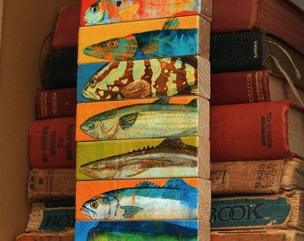 Fathers Day Gift for Him, Fishing Gifts for Men, Husband Gifts for Him, Fish Sticks, 7 Saltwater Fish Art Blocks, Dad Gifts, for Dad