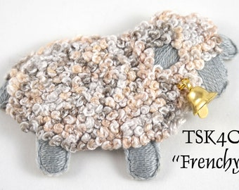 """TSKK04c - """"Frenchy"""" Sheep Hand-Embroidered Brooch/Ornament Kit and Pattern"""