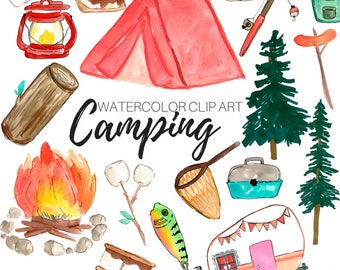 Watercolor clip art - camping clip art - outdoors clip art - nature clip art - commercial use