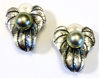 One of a kind 9.5-10mm Tahitian pearl 925 sterling silver earrings.