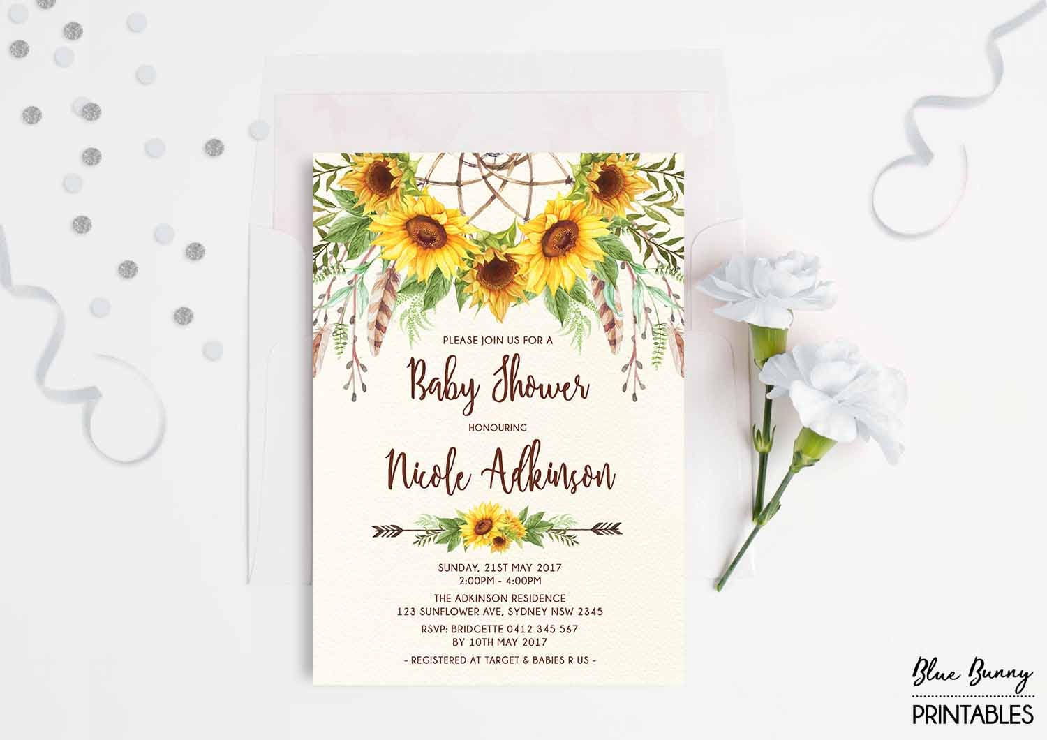 Boho Sunflower Baby Shower Invitation. Rustic Yellow Floral
