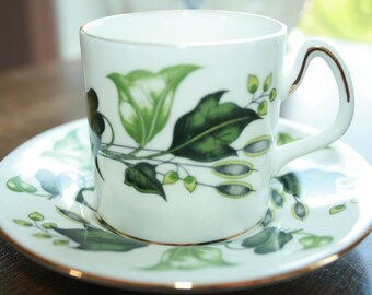Coalport- Green leaves- vintage espresso cup and saucer