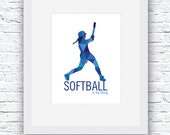 Softball Wall Art, Softba...