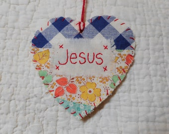 Wordz From the Heart Snippet Ornament - JESUS - Stitched From Recycled Vintage Quilt Piece