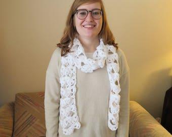White crocheted fashion scarf