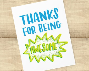 Thanks For Being Awesome greeting card and envelope; BLANK INSIDE