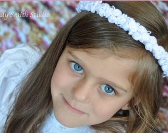 White, Satin Rosette Flower Crown. First Communion Headpiece.  Flower Girls, Confirmation, or Christening Hair Accessories.