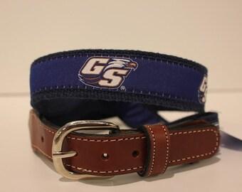 Georgia Southern  Men's  Web Leather Belt