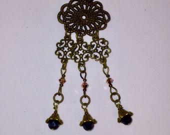 Antique Brass Chandelier Necklace